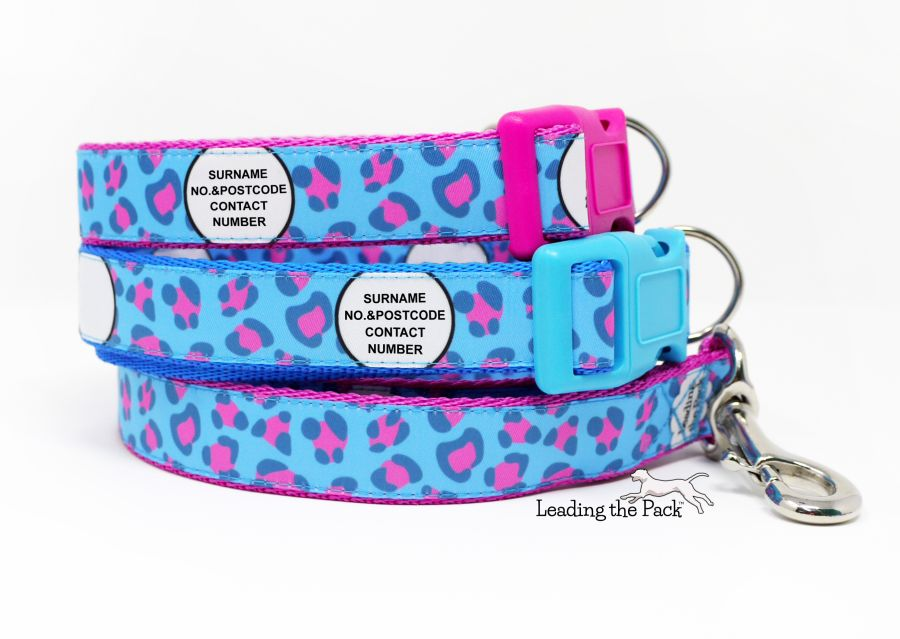 20/25mm personalised contact blue pink leopard collars & leads