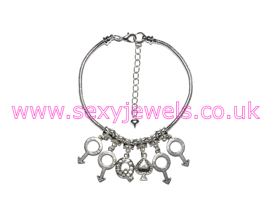 Euro Anklet / Ankle Chain Queen Of Spades QOS Gangbang Style 6