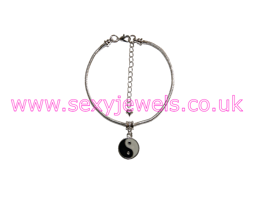 Euro Anklet / Ankle Chain 'Black / White' Interracial