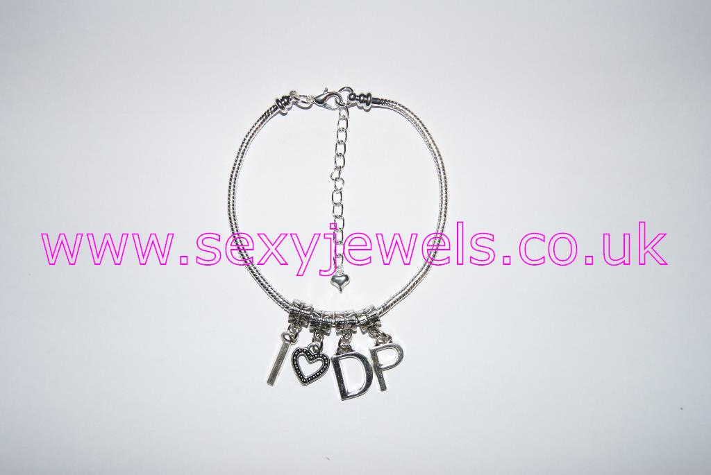 Euro Anklet / Ankle Chain `I Love DP` (LL) Double Penetration