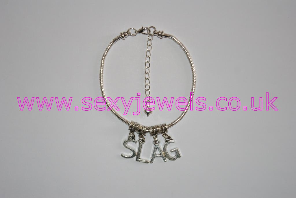 Euro Anklet / Ankle Chain `SLAG` (LL) Nympho Slut