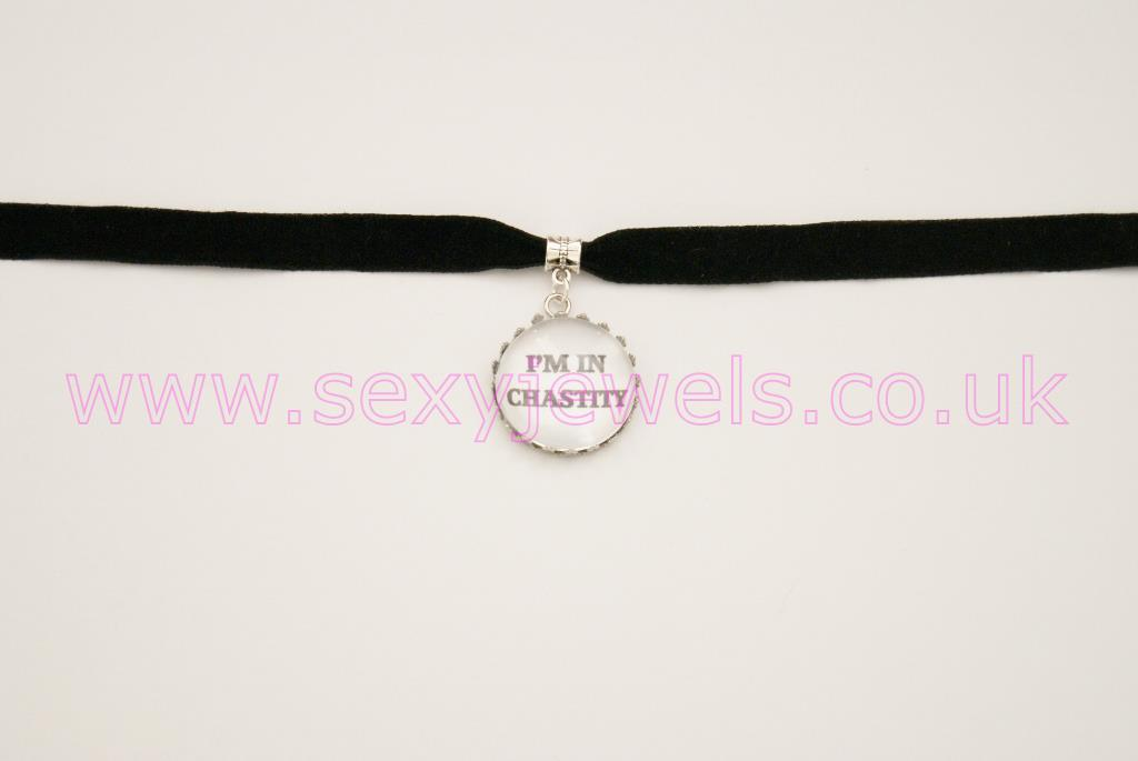 'I'm in Chastity'  Black Velvet Choker Necklace Collar