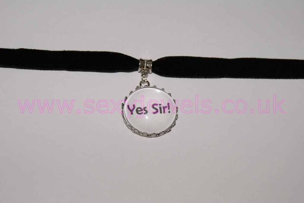 'Yes Sir!'  Black Velvet Choker Necklace Collar