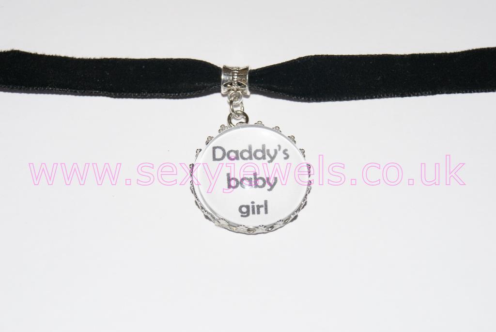 Daddy's Baby Girl Black Velvet Choker Necklace Collar
