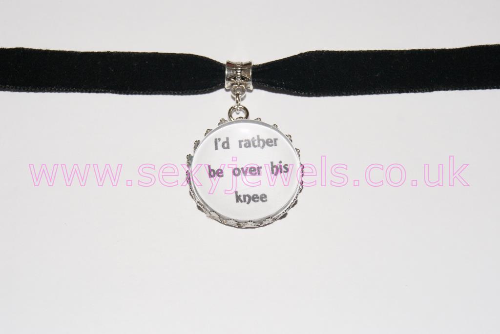 I'd rather be over His Knee Black Velvet Choker Necklace Collar