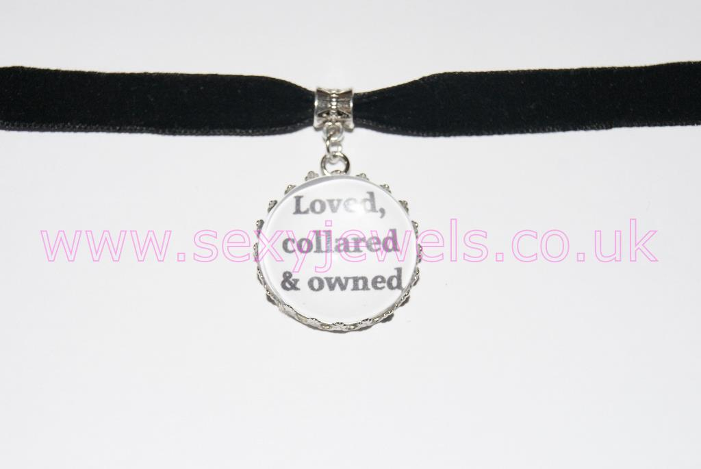 Loved, Collared & Owned Black Velvet Choker Necklace Collar