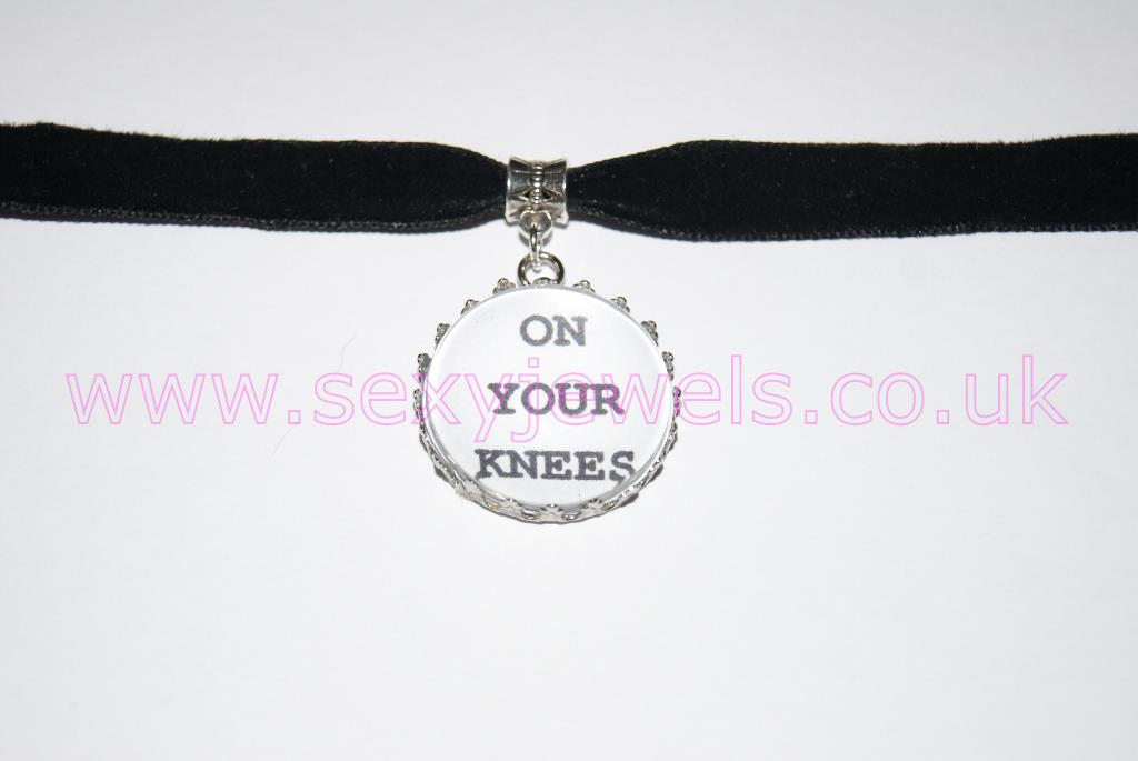On Your Knees Black Velvet Choker Necklace Collar