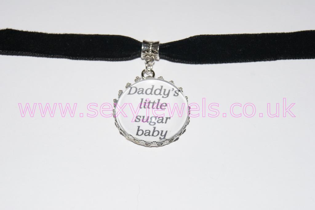 Daddy's Little Sugar Baby Black Velvet Choker Necklace Collar