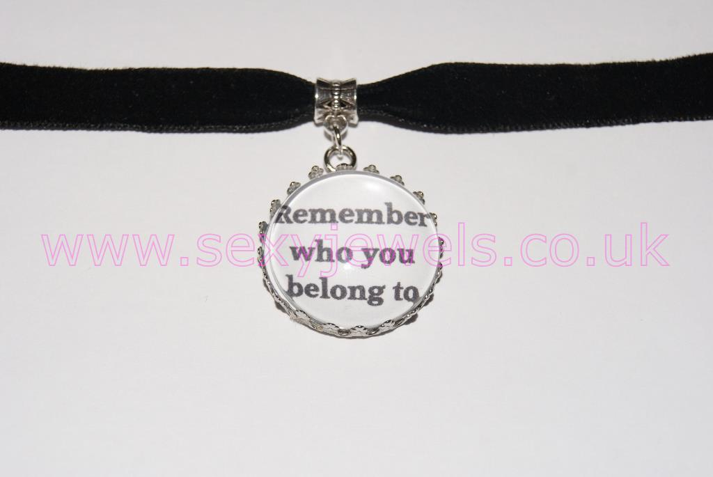 Remember who you belong to Black Velvet Choker Necklace Collar