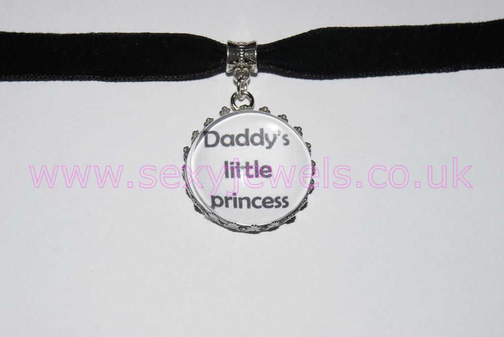 Daddy's Little Princess Black Velvet Choker Necklace Collar