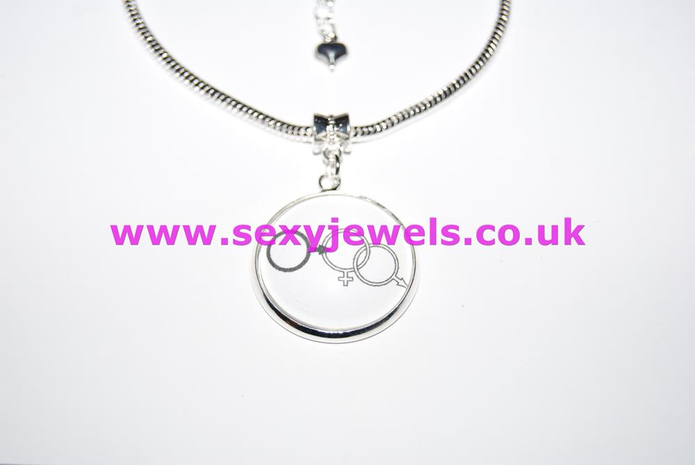 Cuckold Logo Dome Charm Euro Anklet / Ankle Chain - Hotwife Cuck Husband