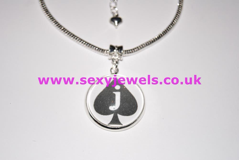 Jack Of Spades Dome Charm Euro Anklet / Ankle Chain - Submissive Sissy