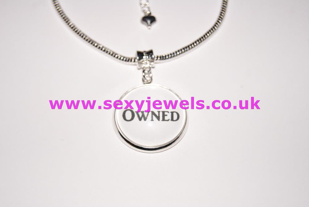 Owned Word Dome Charm Euro Anklet / Ankle Chain - Submissive Slave