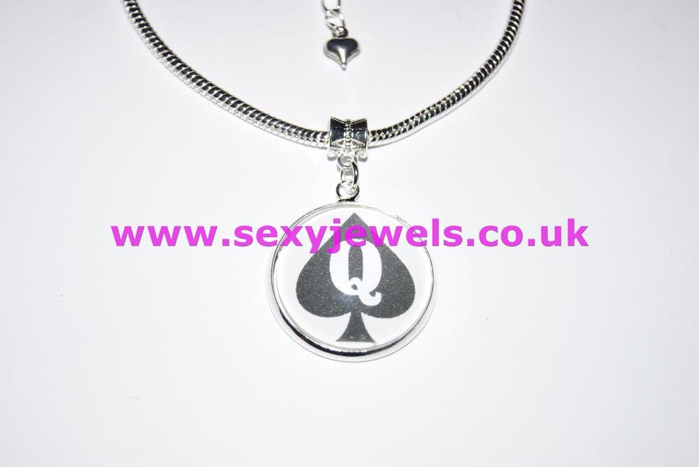 Queen Of Spades Dome Charm Euro Anklet / Ankle Chain - Style 1
