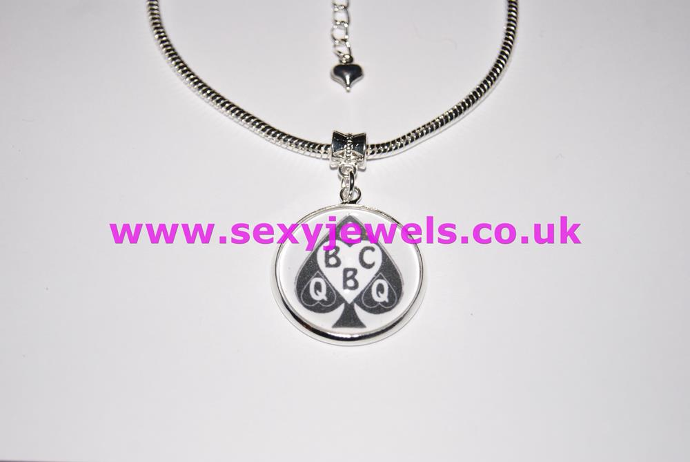 Queen Of Spades Dome Charm Euro Anklet / Ankle Chain - Style 2