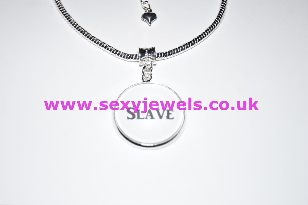 Slave Word Dome Charm Euro Anklet / Ankle Chain - Submissive Pet