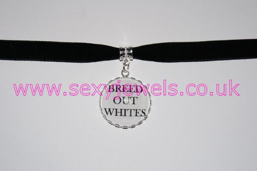 Breed Out Whites Black Velvet Choker Necklace Collar