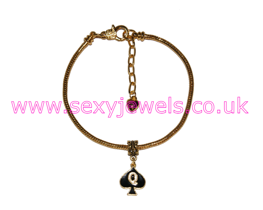 Queen Of Spades Enamel Charm Euro Anklet / Ankle Chain - Gold