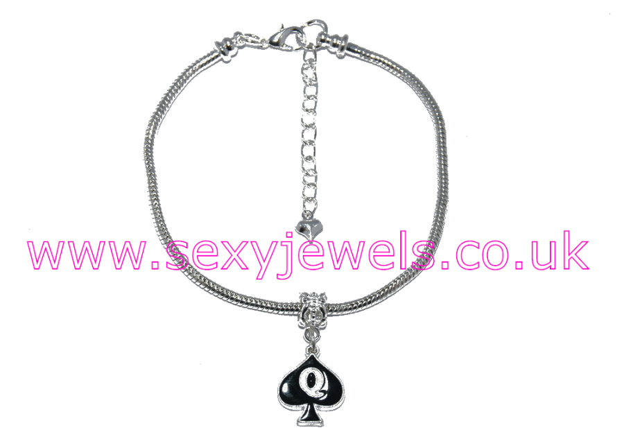 Queen Of Spades Enamel Charm Euro Anklet / Ankle Chain - Silver