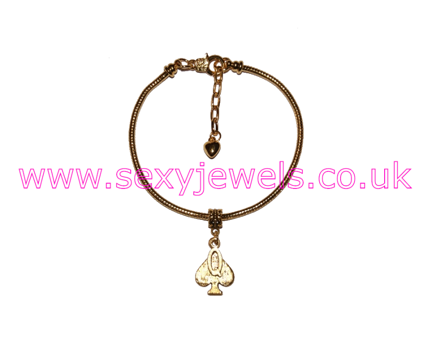 Euro Anklet / Ankle Chain Queen Of Spades Gold Style 3