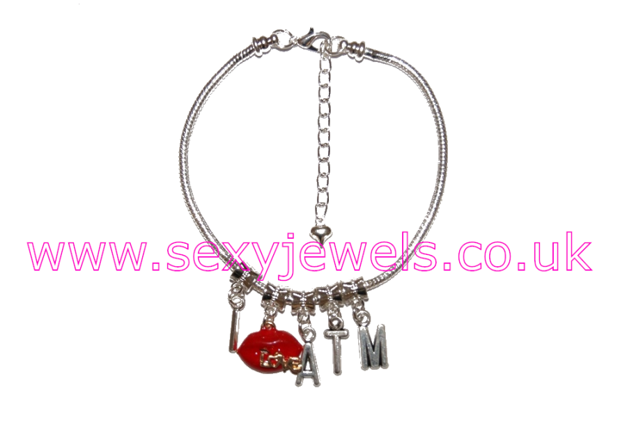 Euro Anklet / Ankle Chain Enamel `I love ATM` Ass To Mouth