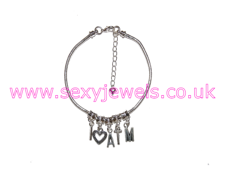 Euro Anklet / Ankle Chain `I <3 ATM` I heart Ass To Mouth
