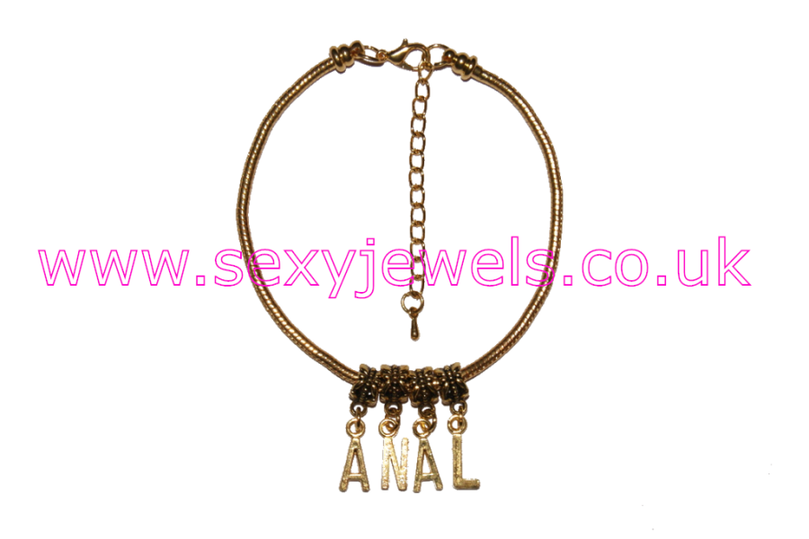ANAL Euro Anklet / Ankle Chain  Bum Sex Slut Gold