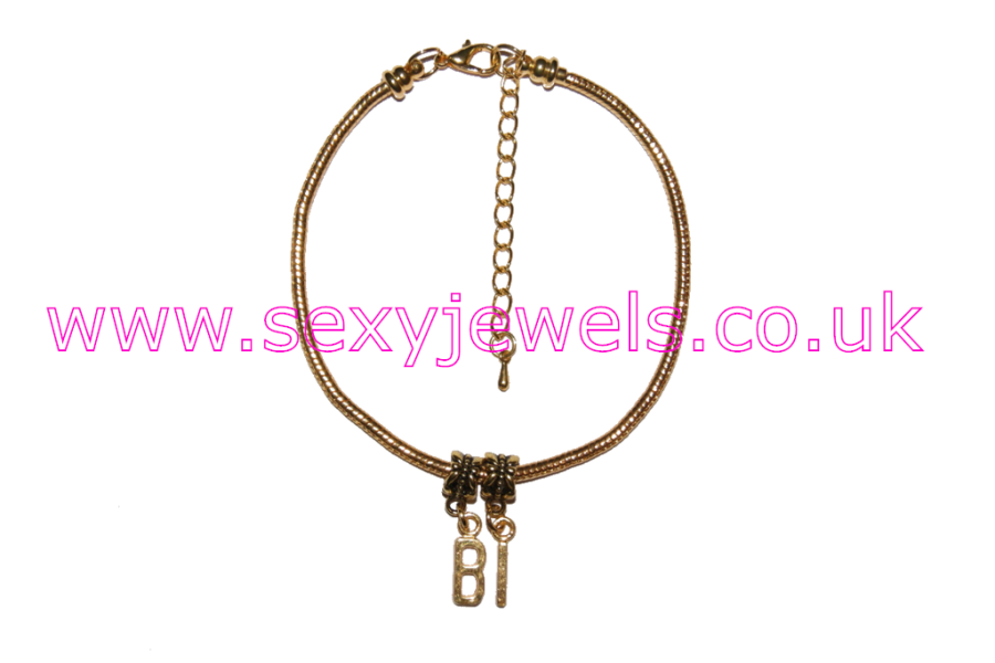 BI Euro Anklet / Ankle Chain  Bisexual Threesome Gold