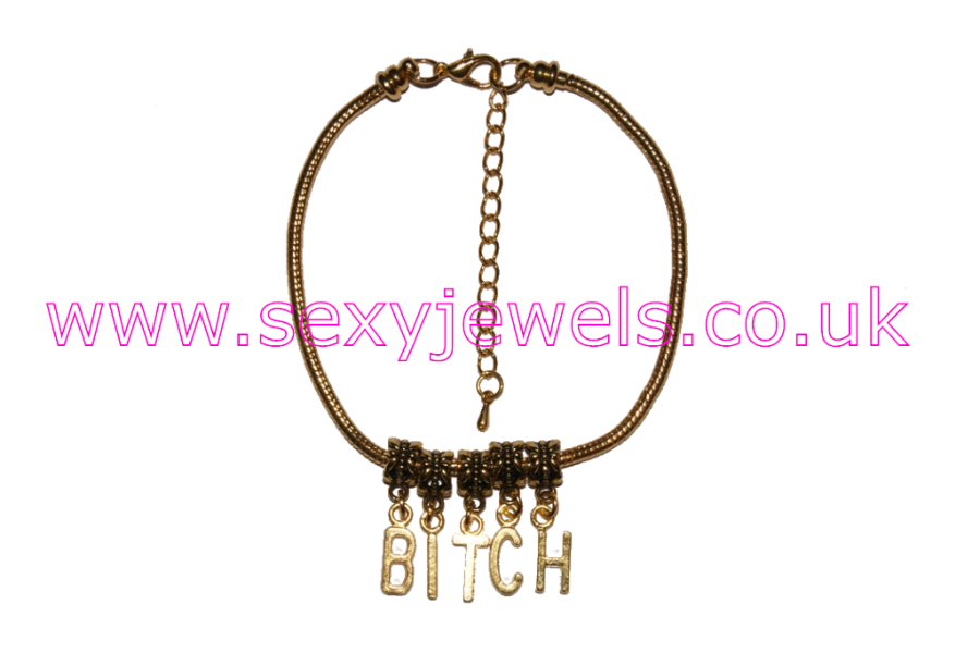 BITCH Euro Anklet / Ankle Chain  Domme Wife Gold