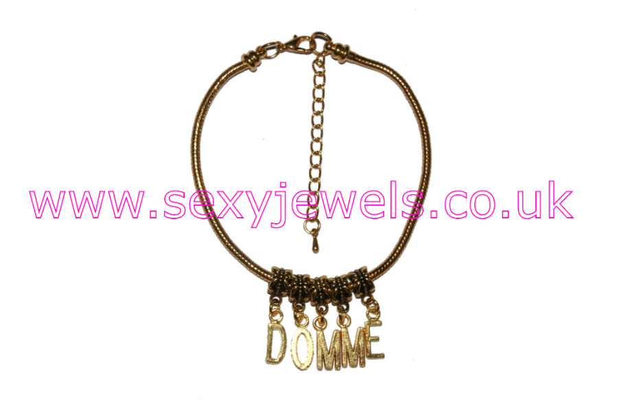 `DOMME` Euro Anklet / Ankle Chain Femdom Female Domination Mistress Gold