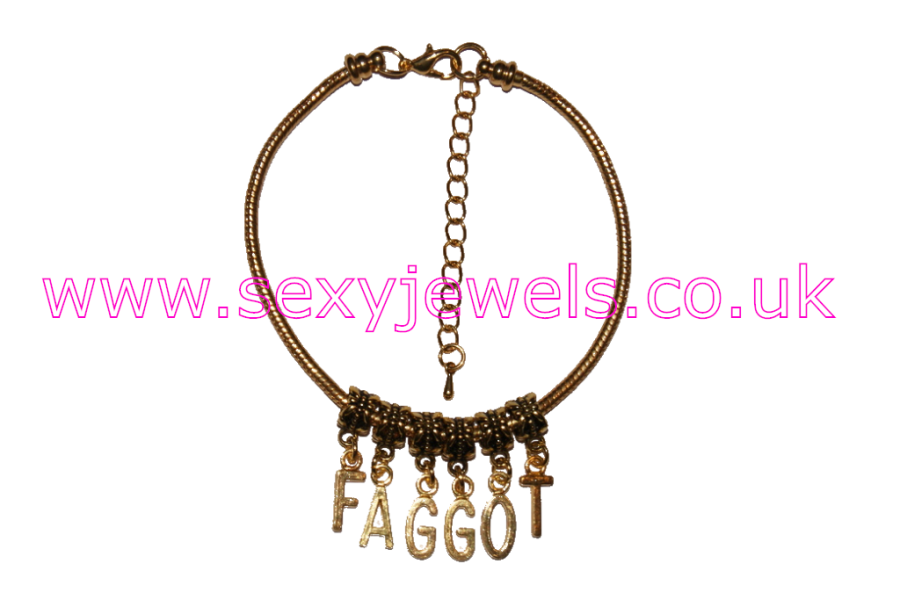 FAGGOT Euro Anklet / Ankle Chain Homosexual Bi Gay Queer Gold