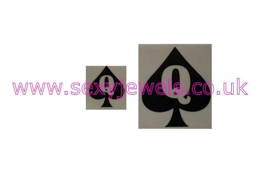 Hotwife Temporary Tattoo - Queen Of Spades (Cuckold) QOS Black Cock Lover Pk 2