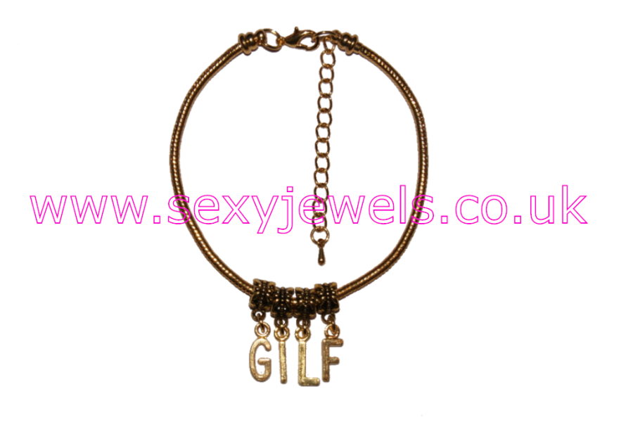 GILF Euro Anklet / Ankle Chain  Gran I`d Like to Fuck Gold