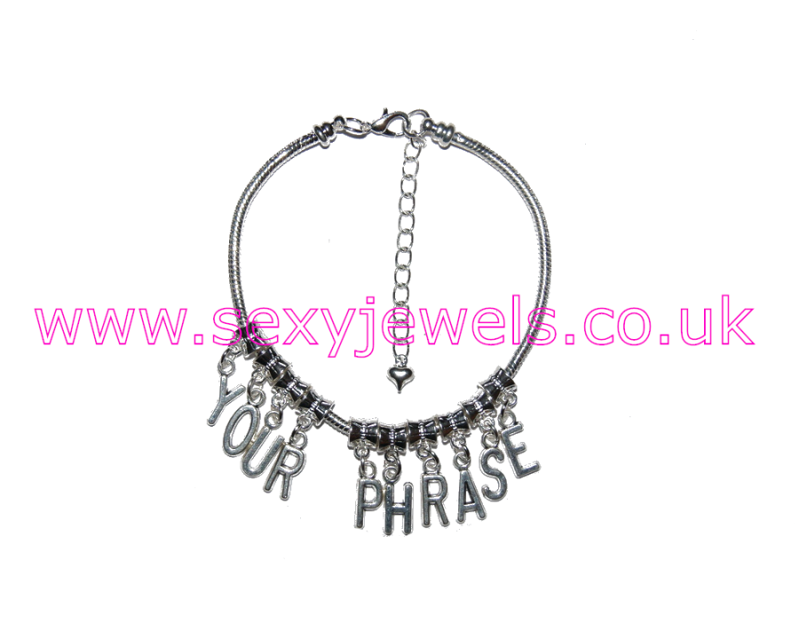 CUSTOM Euro Anklet / Ankle Chain `YOUR PHRASE` Personalised