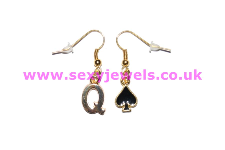 Gold Queen Of Spades Earrings Hotwife Jewellery