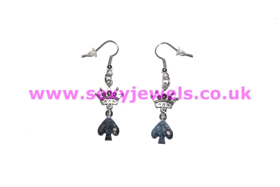 Queen Of Spade Earrings - Style 8 BBC Cuckold Hotwife Jewellery