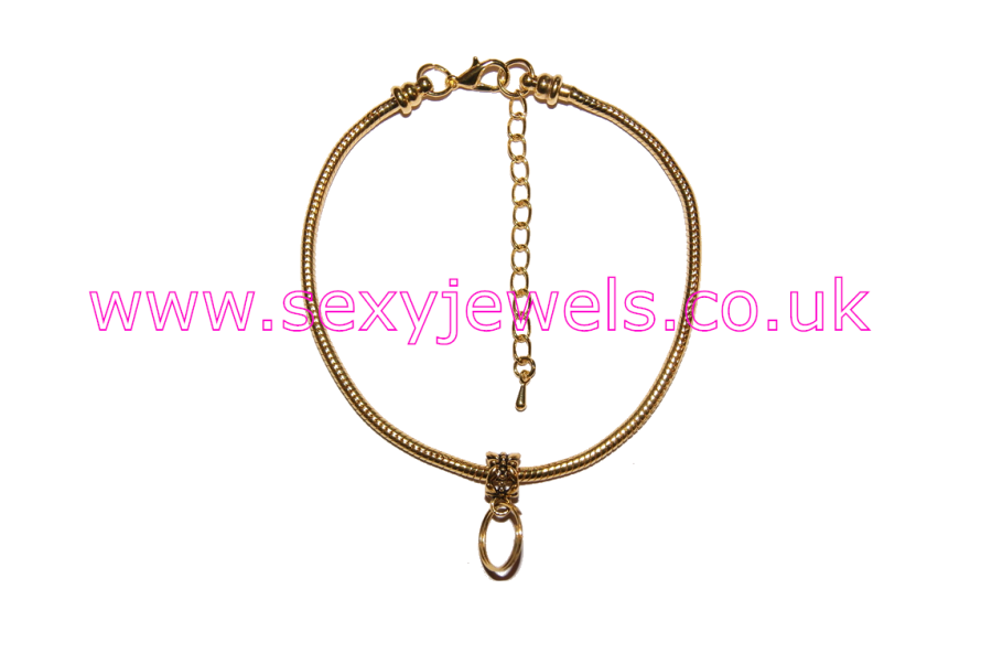 Euro Anklet / Ankle Chain with Keyring for Keyholder / Mistress Chastity Gold
