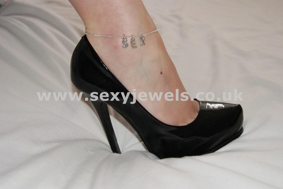 Ankle Chain `Sex` Addict Slave Slut Anklet