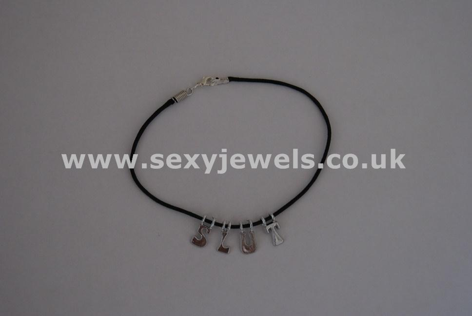 Slut Leather Cord Anklet