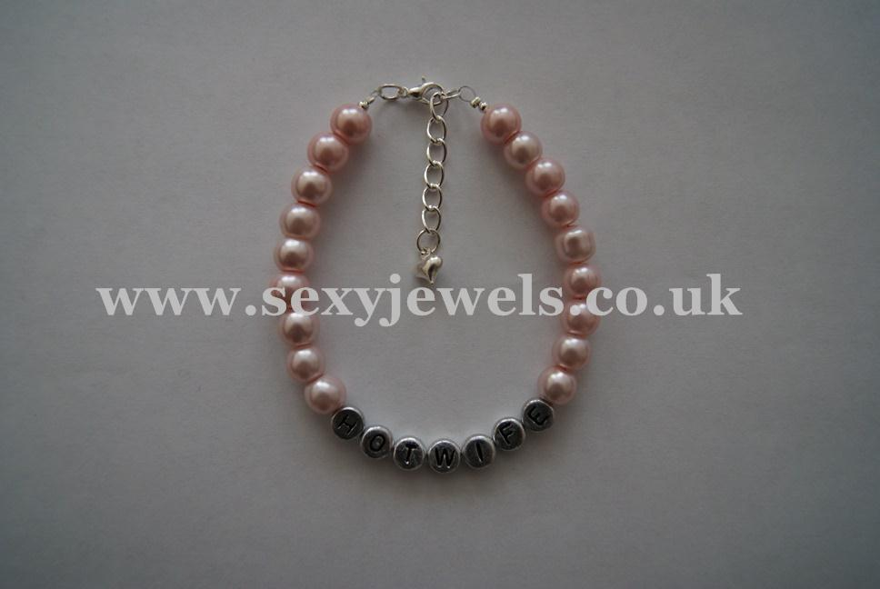 Pink Pearl Bead `HOTWIFE` Anklet, Ankle Chain, Bracelet