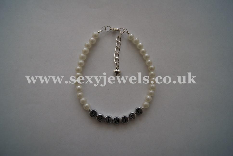 White Pearl Bead `HOTWIFE` Anklet, Ankle Chain, Bracelet