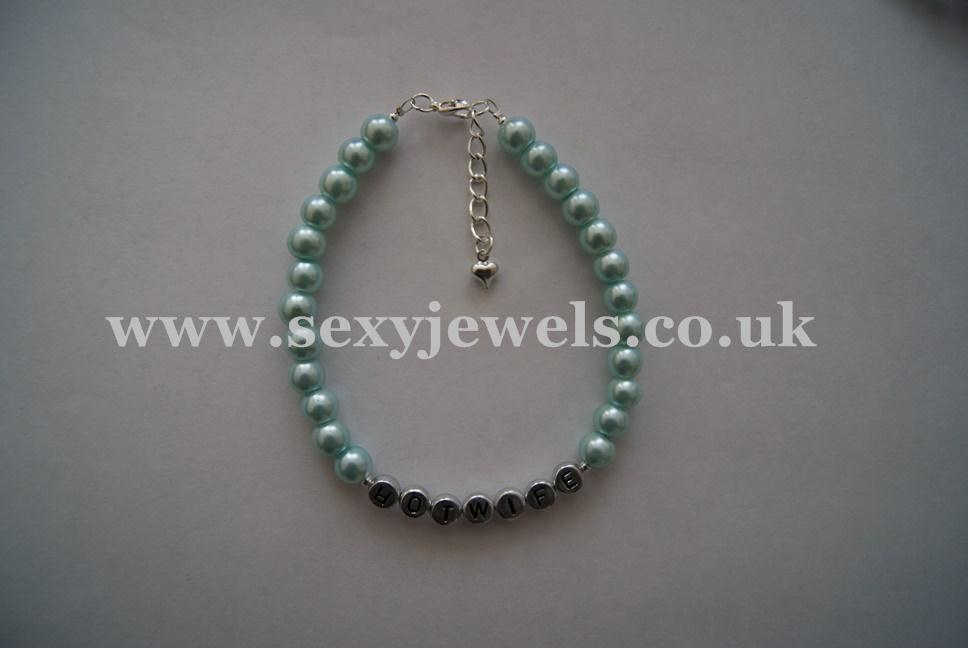 Light Blue Pearl Bead `HOTWIFE` Anklet, Ankle Chain, Bracelet
