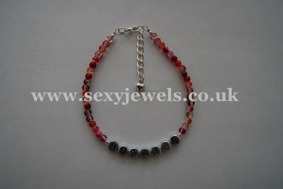 Red Glass Bead `HOTWIFE` Anklet, Ankle Chain, Bracelet