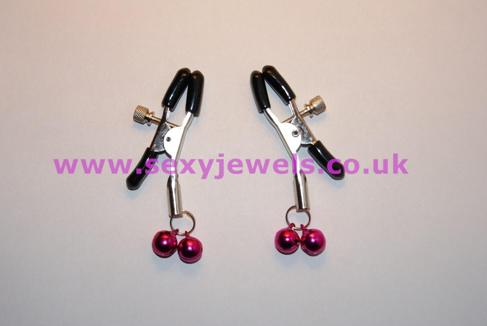 Silver Nipple Clamps with Little Pink Bells