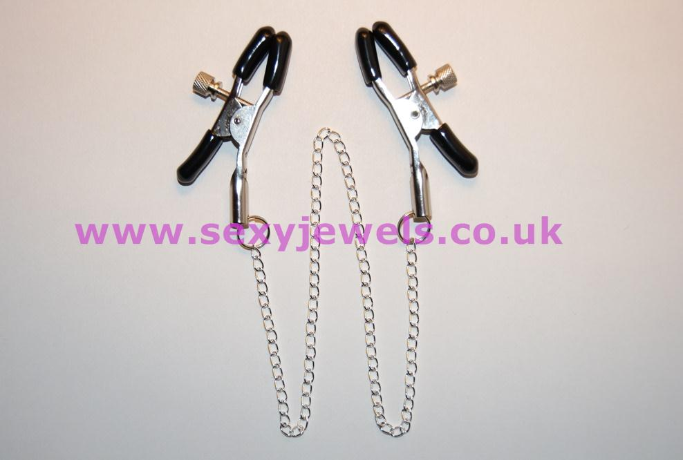 Silver Nipple Clamps with Silver Plated Connecting Chain