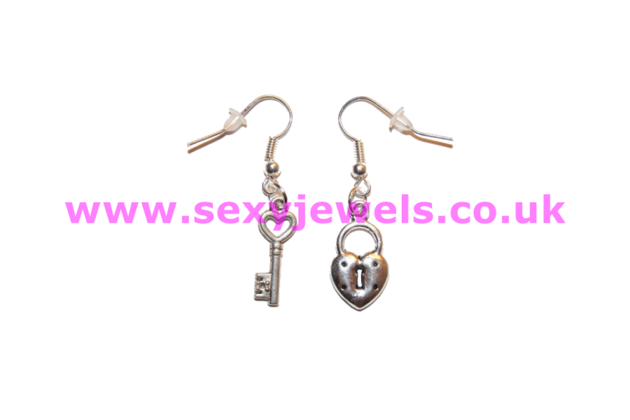 Lock and Key Sexy `Cuckold` Mistress Love Earrings - Style 1