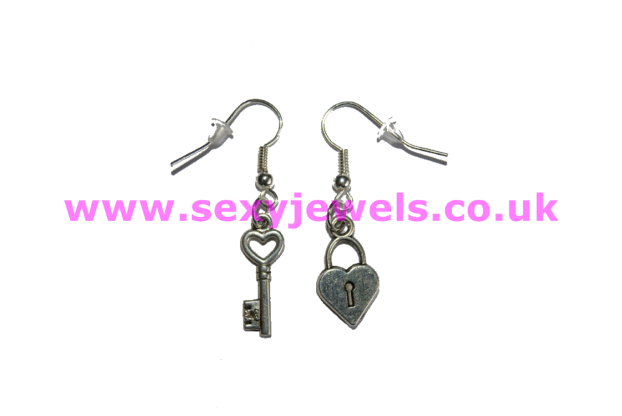 Lock and Key Sexy `Cuckold` Mistress Love Earrings - Style 2