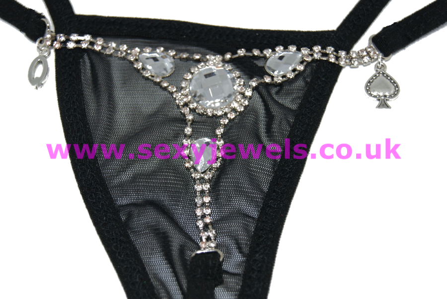 Queen Of Spades Black Diamante Ladies Thong for Hotwife - UK Size 8 - 12