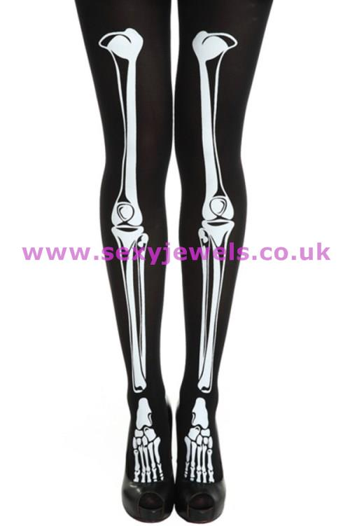 Bones / Skeleton Tights Halloween Fancy Dress