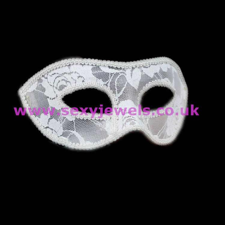 White Lace Masquerade Mask Without Flower